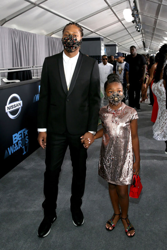 Future kept the mask on with his gorgeous little girl.